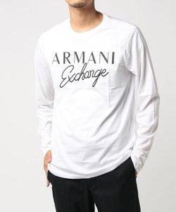 【A|Xアルマーニ エクスチェンジ】ブロック&カーシブロゴ ロングスリーブTシャツ