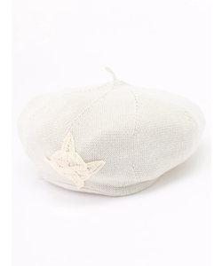 バテンモチーフ付き綿麻ニットベレー
