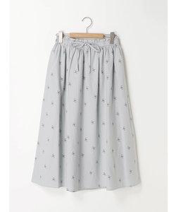 綿麻単色花スカート