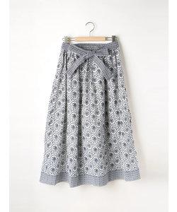 パネルエスニック柄ギャザースカート