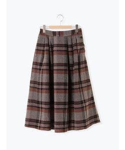 チェック柄脇釦スカート