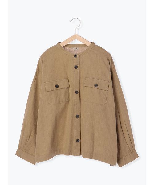 ノーカラーシャツジャケット
