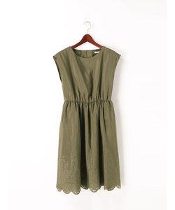 スパンボイル裾刺繍ワンピース