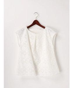 裾スカラオーガンジー刺繍フレンチブラウス