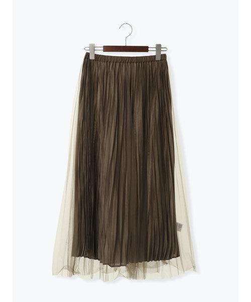 チュール×サテンフレアスカート
