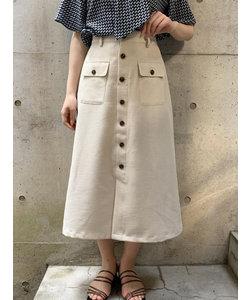 麻調フロント釦スカート