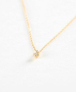 K18YGフルール ネックレス 4月の誕生石ダイヤモンド