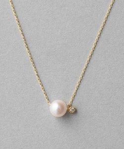 K18YGベーシック パール&ダイヤモンド ネックレス
