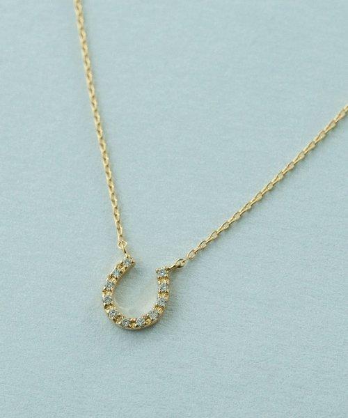 K18YG ダイヤモンド ネックレス「ホースシュー」