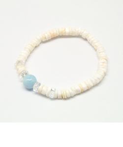 シェル&天然石ブレスレット (アクアマリン)