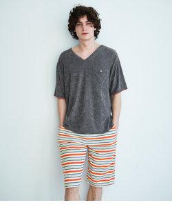 メンズデオパイルボーダーパジャマ