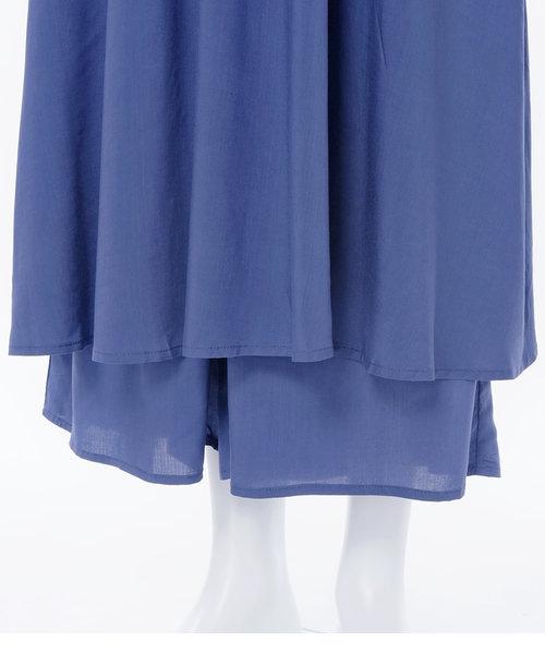 【中村アン×PJコラボ!ドレスとフレアパンツの優美なセット】PJ/パデットキャミドレスセット