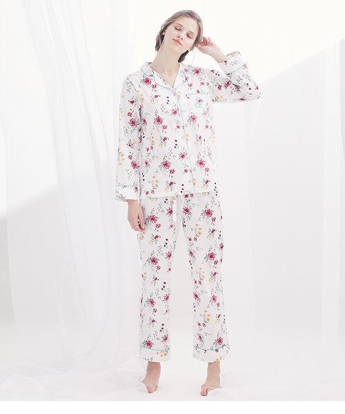 【汗をかいてもさらり、吸湿・吸水性抜群のコットン100%!】コットンシャツパジャマ