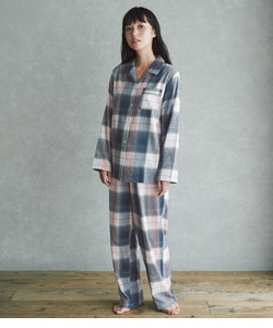 【真冬も暖かい、両面起毛コットンフランネルの前開きパジャマセット】両面起毛フランネルシャツパジャマ