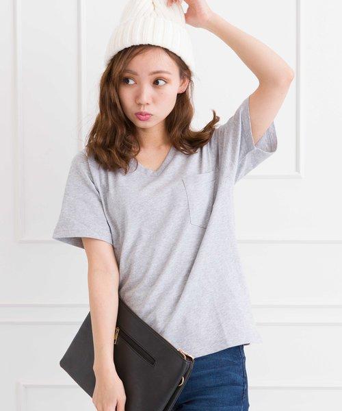 ポケ付VネックTシャツ