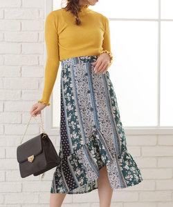 パネル花柄マーメイドスカート