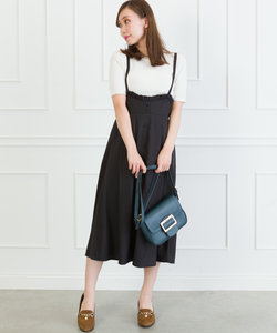 【WEB限定】ハイウエストサスペンダー付ロングスカート