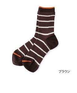 fukuske 【撥水加工 RAINSOCKS】 細ボーダー クルー丈ソックス