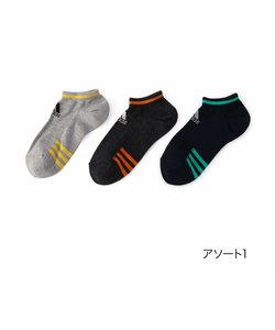 adidas(アディダス) 3足組 つま先3ライン スニーカー丈 ソックス