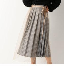 チェックプリーツ×チュールラップスカート
