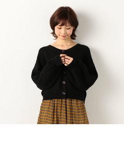 ガーター編みボリューム袖カーデ
