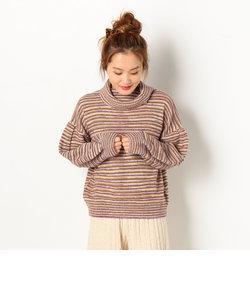 タートルネックガーター編みプルオーバー