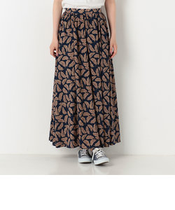 A-リーフ柄ギャザーマキシスカート