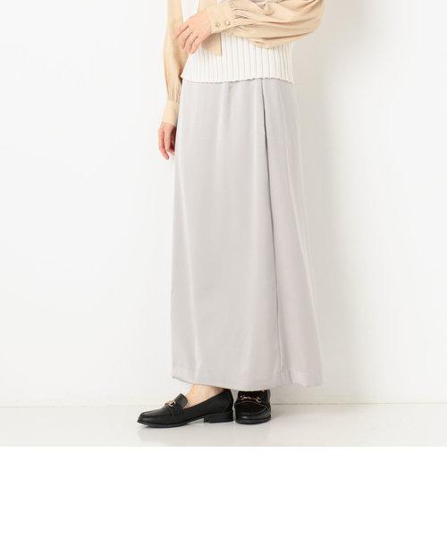 サテンロングセミフレアスカート