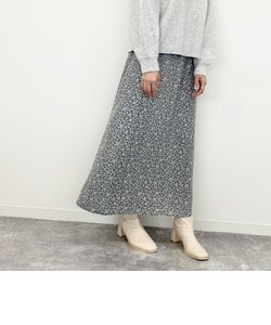 単色花柄ナロースカート