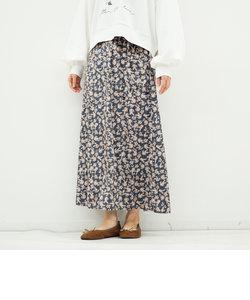 花柄ベロアセミフレアスカート