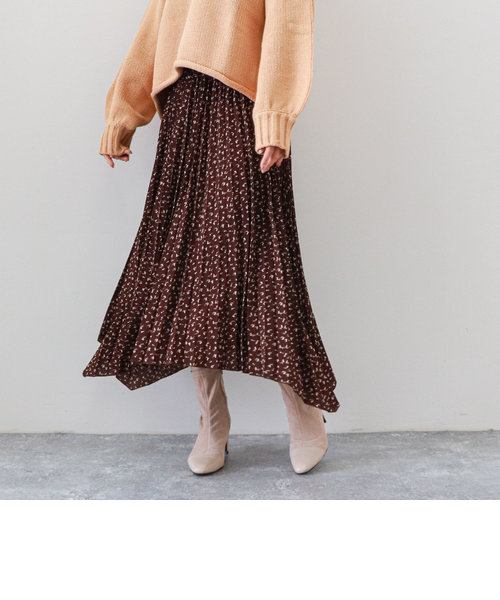 フラワープリントイレヘムスカート
