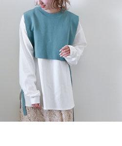 サイドリボンニットベストTシャツセット