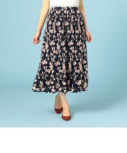 チェック花柄PTプリーツセミロングスカート