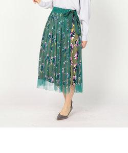ラップ花柄レイヤードスカート