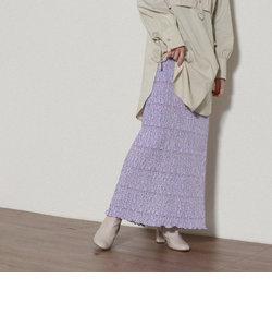 花柄ベロアプリーツタイトスカート