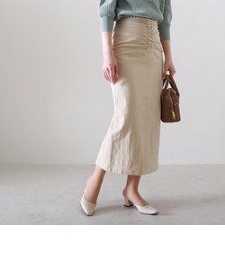綿麻フロントギャザースカート