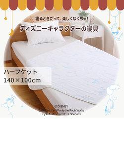 [Disney] 6重織ガーゼハーフケット/くまのプーさん 140×100cm ブルー/イエロー