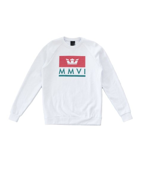 CROWN JEWEL CREW FLEECE / WHITE RED TEAL