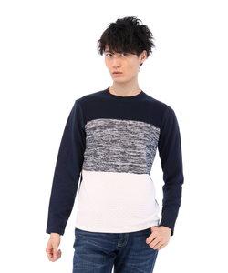 ニットカット3段ブロッキングクルーネック長袖Tシャツ