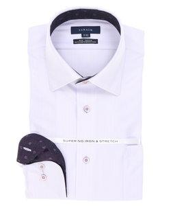 形態安定(ノーアイロン)ストレッチレギュラーフィットドビーシャドーストライプワイドカラーニットビジネスドレスシャツ