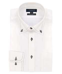 形態安定(ノーアイロン)スリムフィットドゥエボットーニボタンダウンハンドステッチビジネスドレスシャツ