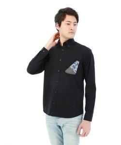 コーマブロードポケットパッチワークボタンダウンカジュアルシャツ