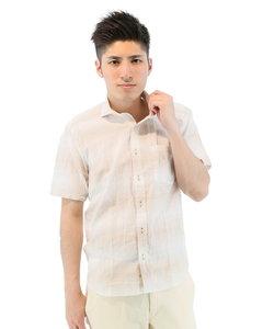 半袖 綿麻ボーダー柄ホリゾンタルカラーシャツ