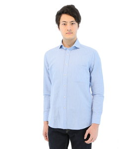 新疆綿 綿麻ブークレーストライプ柄ホリゾンタルカラーシャツ