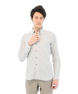新疆綿 綿麻無地ワンピースボタンダウンシャツ