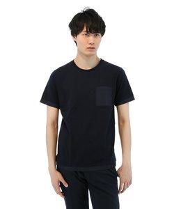 異素材使い切替クルーネックTシャツ