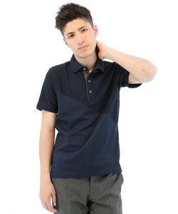 半袖スラブタックボーダー異素材切替えポロシャツ