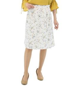 花柄タックフレアースカート シロ