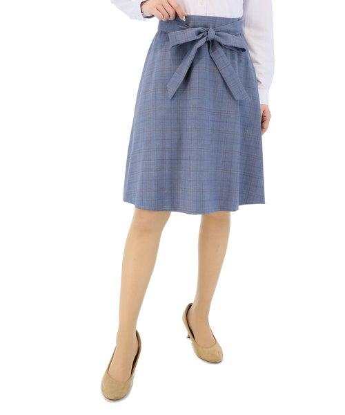 REDA 青チェックリボンセットアップフレアースカート