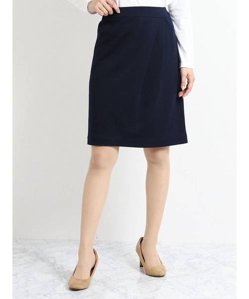 ストレッチウォッシャブル モクロディーセットアップスカート 紺